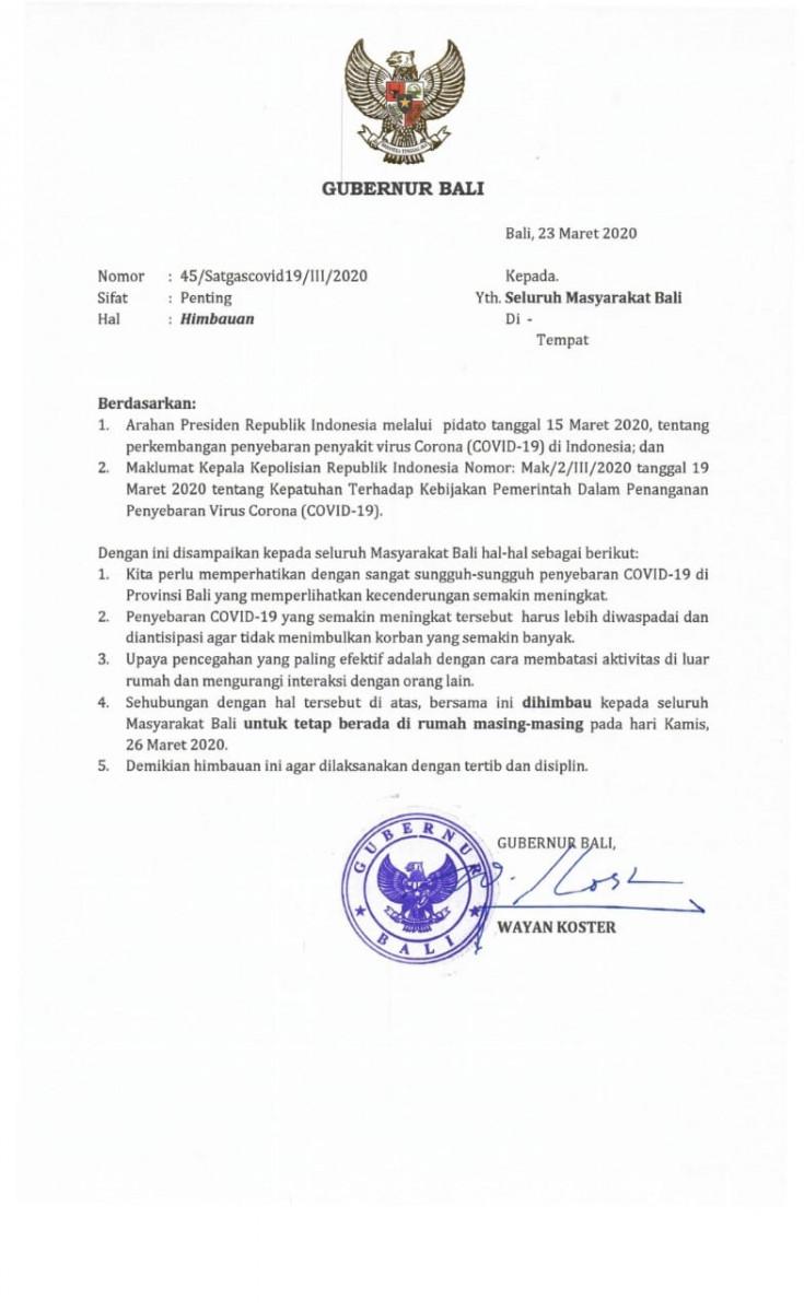 Surat Himbauan Gubernur Bali Jdih Pemerintah Provinsi Bali